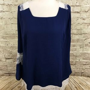 New NY Collection Blue Blouse With Ivory Lace